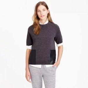 J Crew Navy merino wool sweater leather pockets